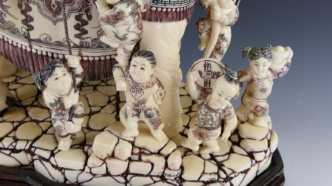 CHINESE CARVED BONE ELEPHANT WITH CHILDREN FIGURE - 4