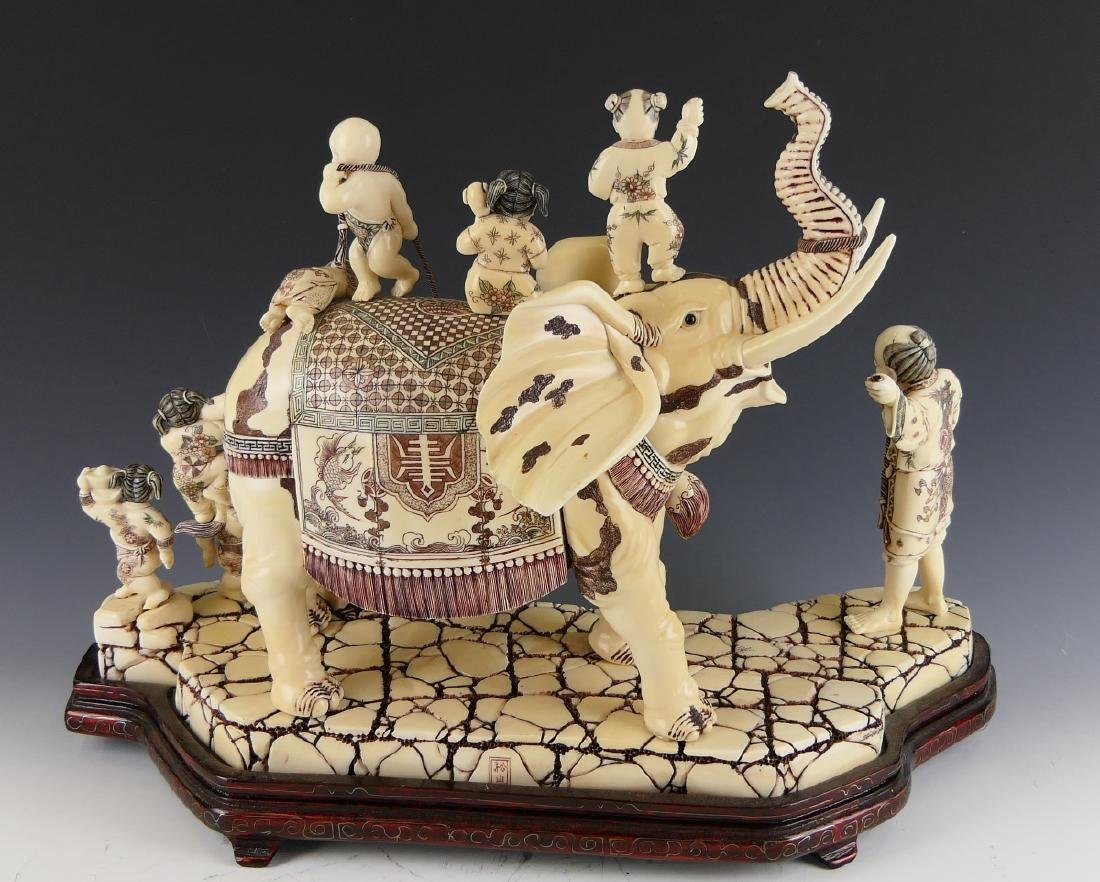 CHINESE CARVED BONE ELEPHANT WITH CHILDREN FIGURE - 6
