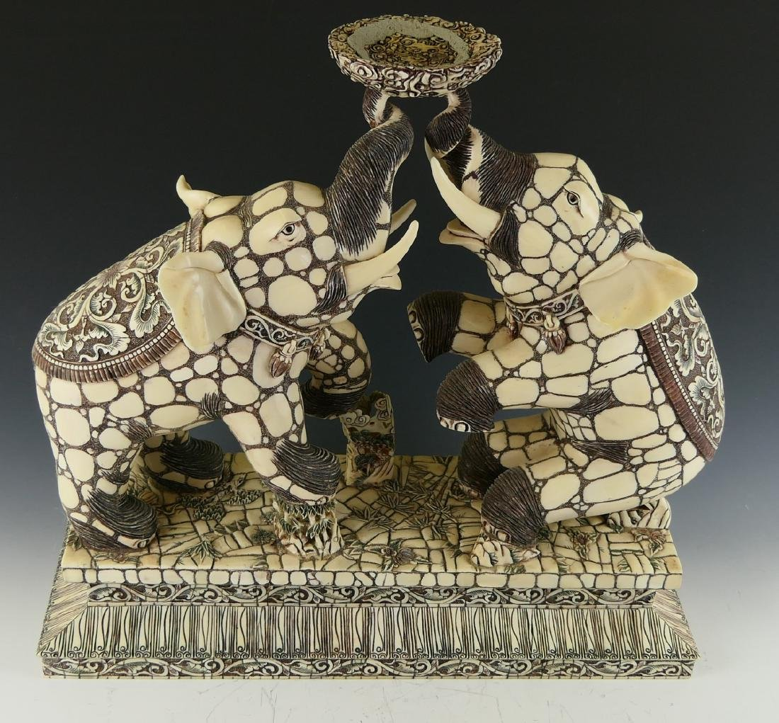 CHINESE CARVED BONE DUELING ELEPHANTS W/ BALL - 9