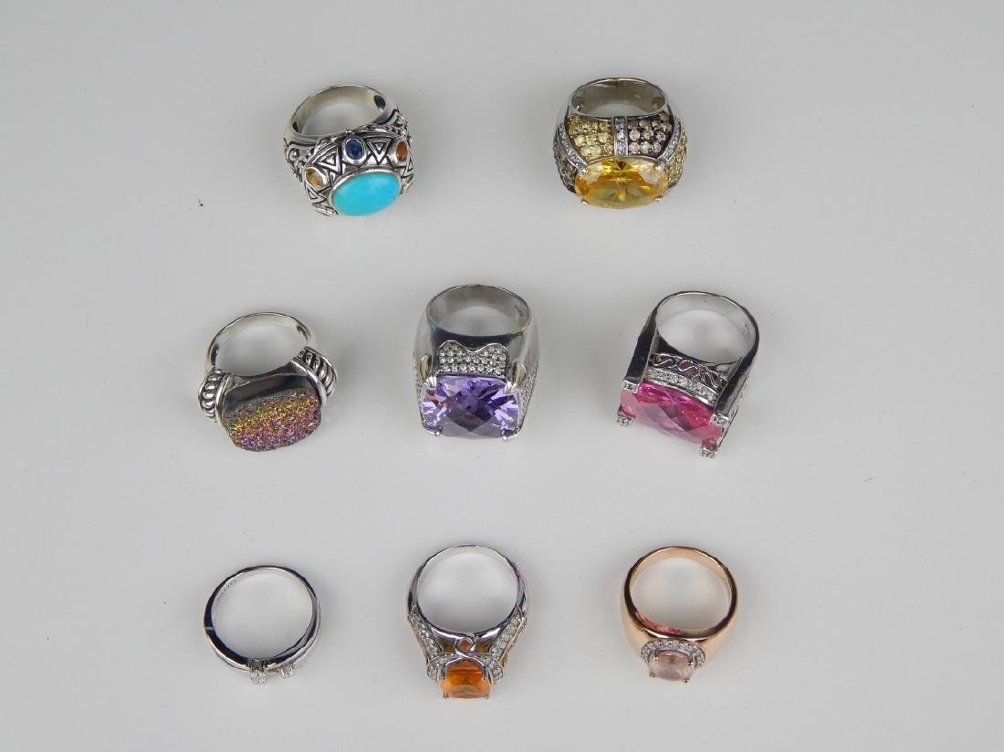 LOT OF 8 STERLING SILVER MULTISTONE RINGS - 2
