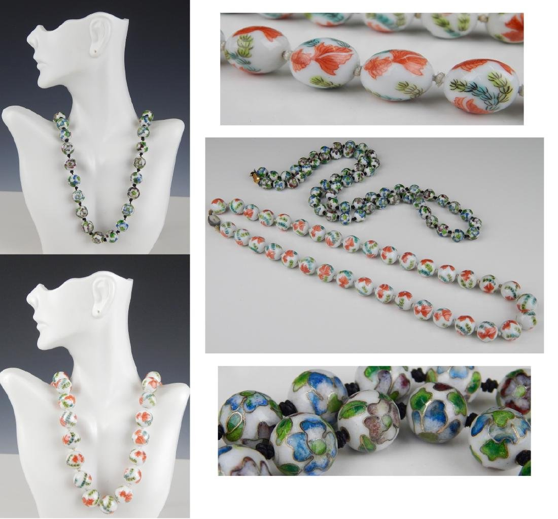 2 VINTAGE CHINESE PORCELAIN & CHAMPLEVE NECKLACES