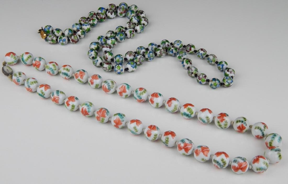 2 VINTAGE CHINESE PORCELAIN & CHAMPLEVE NECKLACES - 2