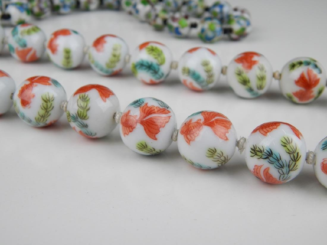 2 VINTAGE CHINESE PORCELAIN & CHAMPLEVE NECKLACES - 3