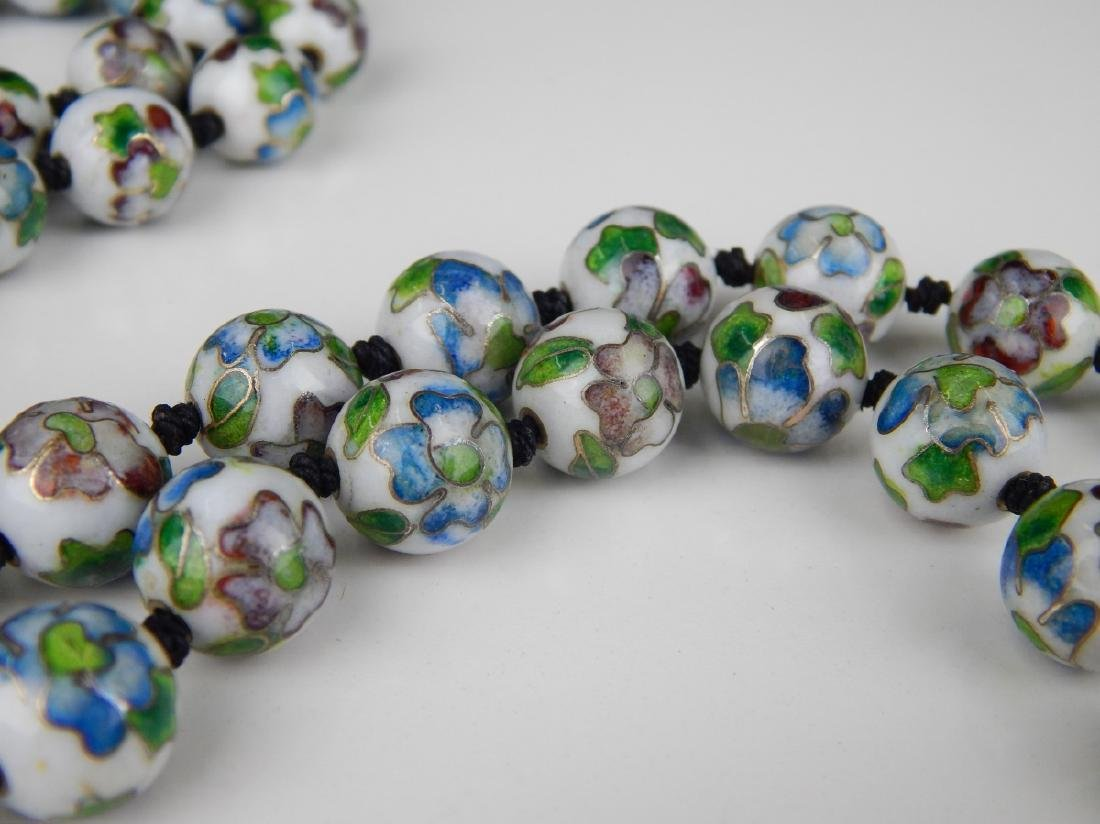 2 VINTAGE CHINESE PORCELAIN & CHAMPLEVE NECKLACES - 4