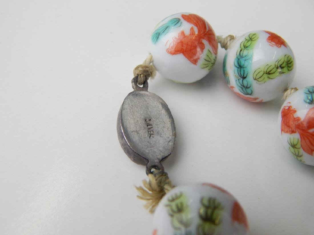 2 VINTAGE CHINESE PORCELAIN & CHAMPLEVE NECKLACES - 5