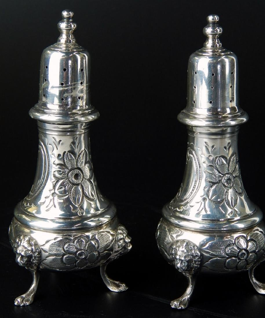 PAIR OF LARGE HEAVY STERLING SILVER FOOTED SHAKERS - 2