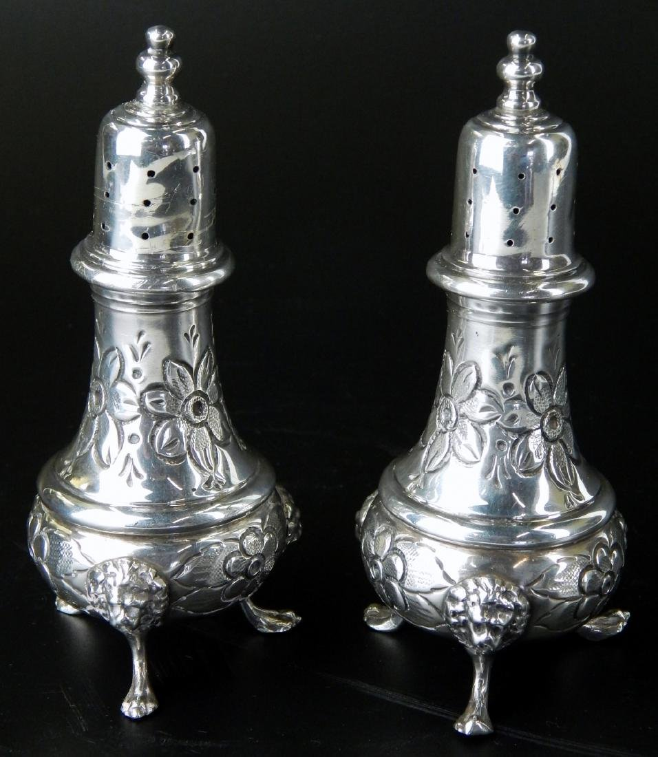 PAIR OF LARGE HEAVY STERLING SILVER FOOTED SHAKERS - 3