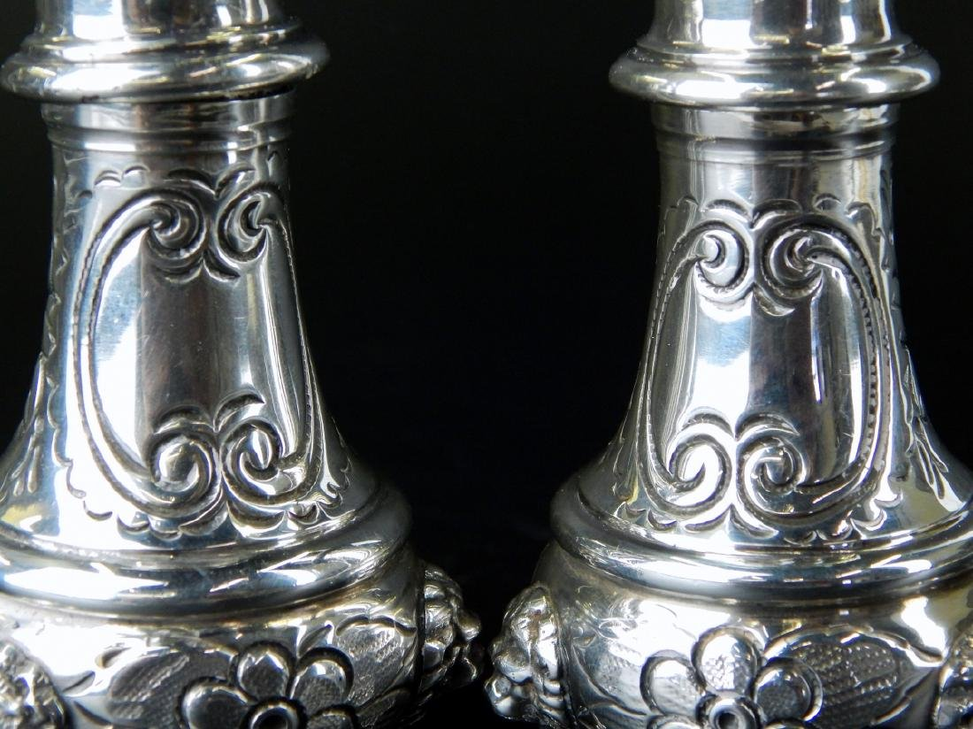 PAIR OF LARGE HEAVY STERLING SILVER FOOTED SHAKERS - 4