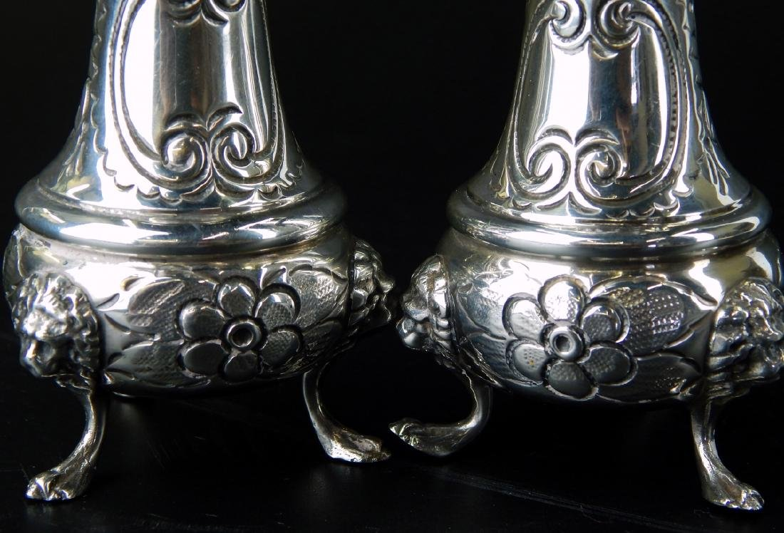 PAIR OF LARGE HEAVY STERLING SILVER FOOTED SHAKERS - 5