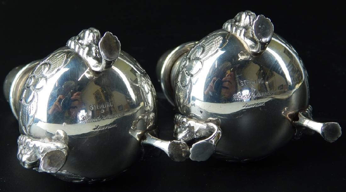 PAIR OF LARGE HEAVY STERLING SILVER FOOTED SHAKERS - 7