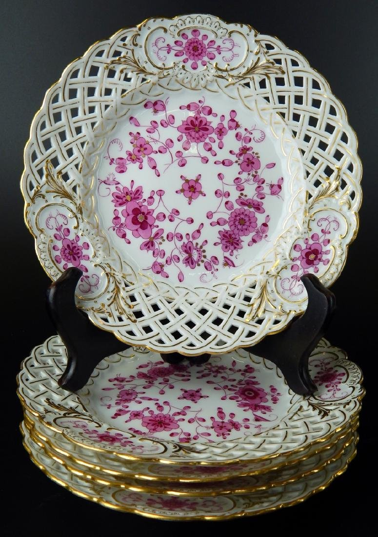 MEISSEN SET OF 5 RETICULATED HAND PAINTED PLATES