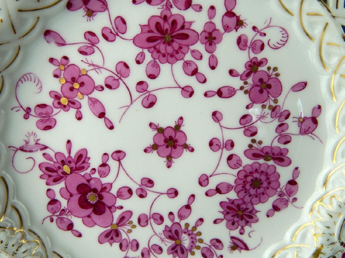 MEISSEN SET OF 5 RETICULATED HAND PAINTED PLATES - 3