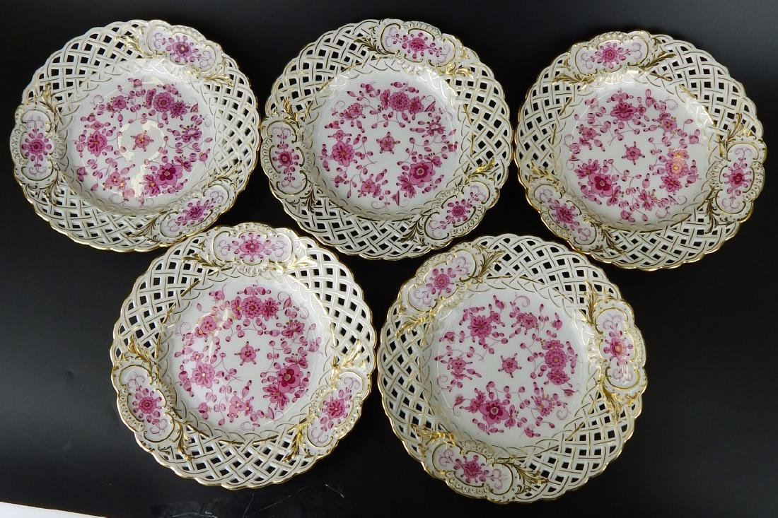 MEISSEN SET OF 5 RETICULATED HAND PAINTED PLATES - 5