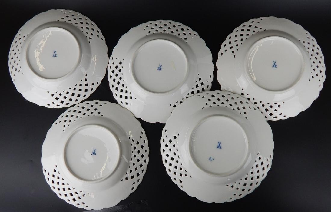 MEISSEN SET OF 5 RETICULATED HAND PAINTED PLATES - 6
