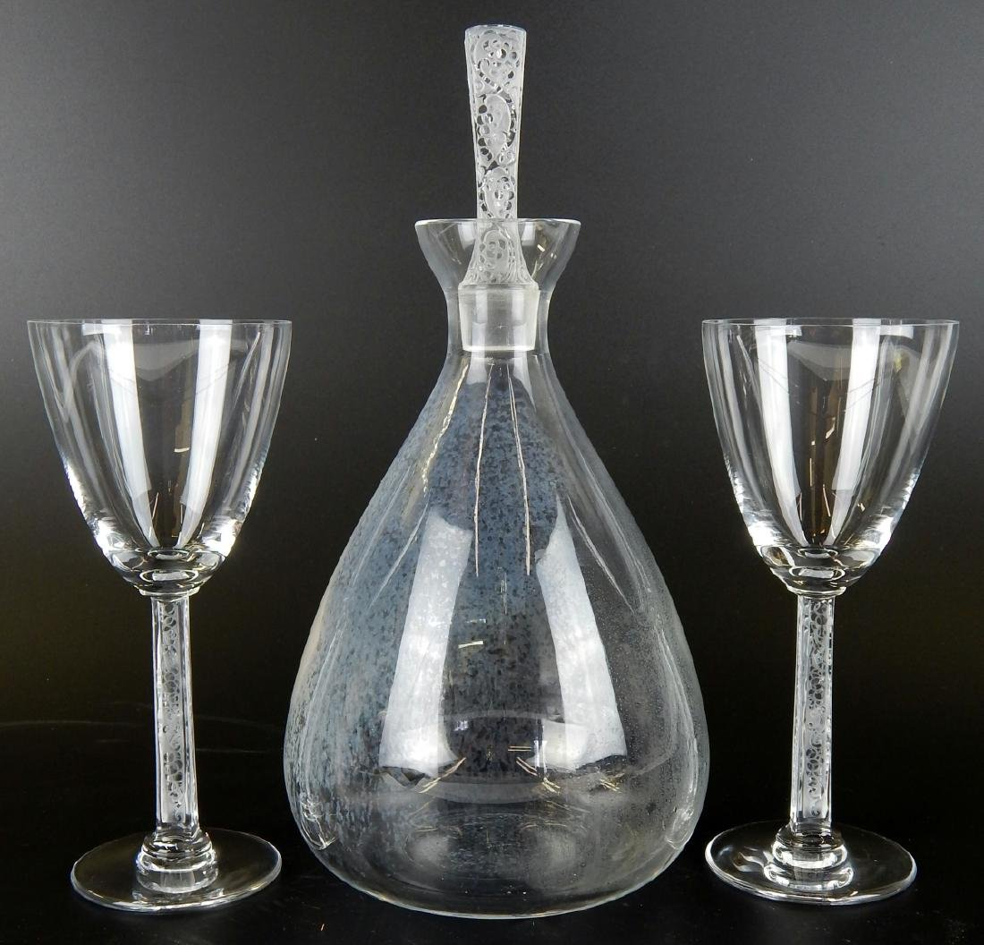 "LALIQUE DECANTER & 2 MATCHING GLASSES ""PHALSBOURG"""
