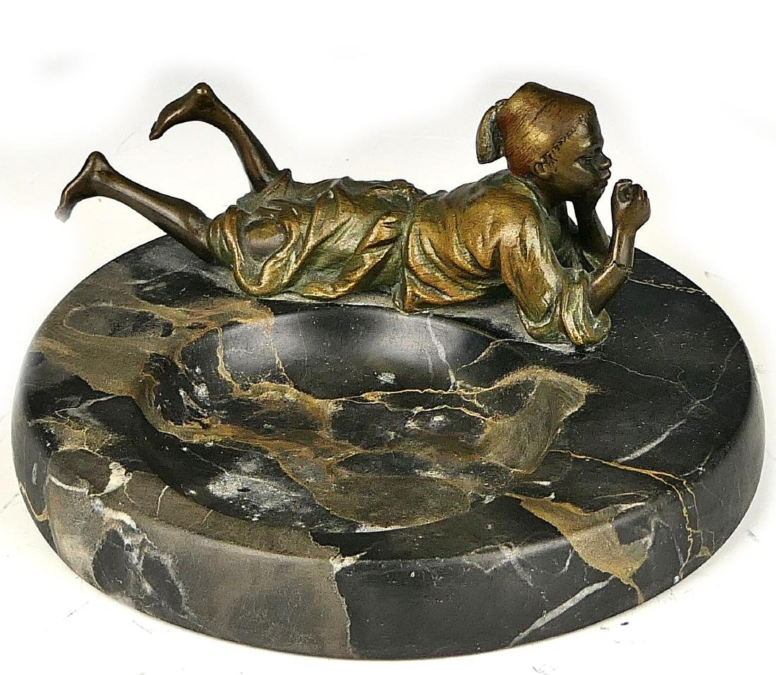 VIENNA BRONZE BLACK MARBLE ORIENTALIST ASHTRAY