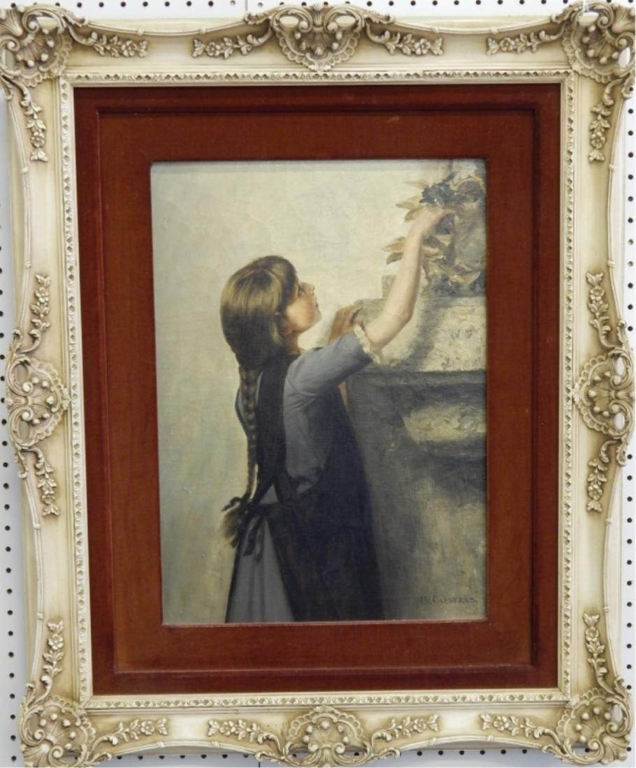 JULIUS V CARSTENS (GERMAN 1849-1908) OIL OF GIRL