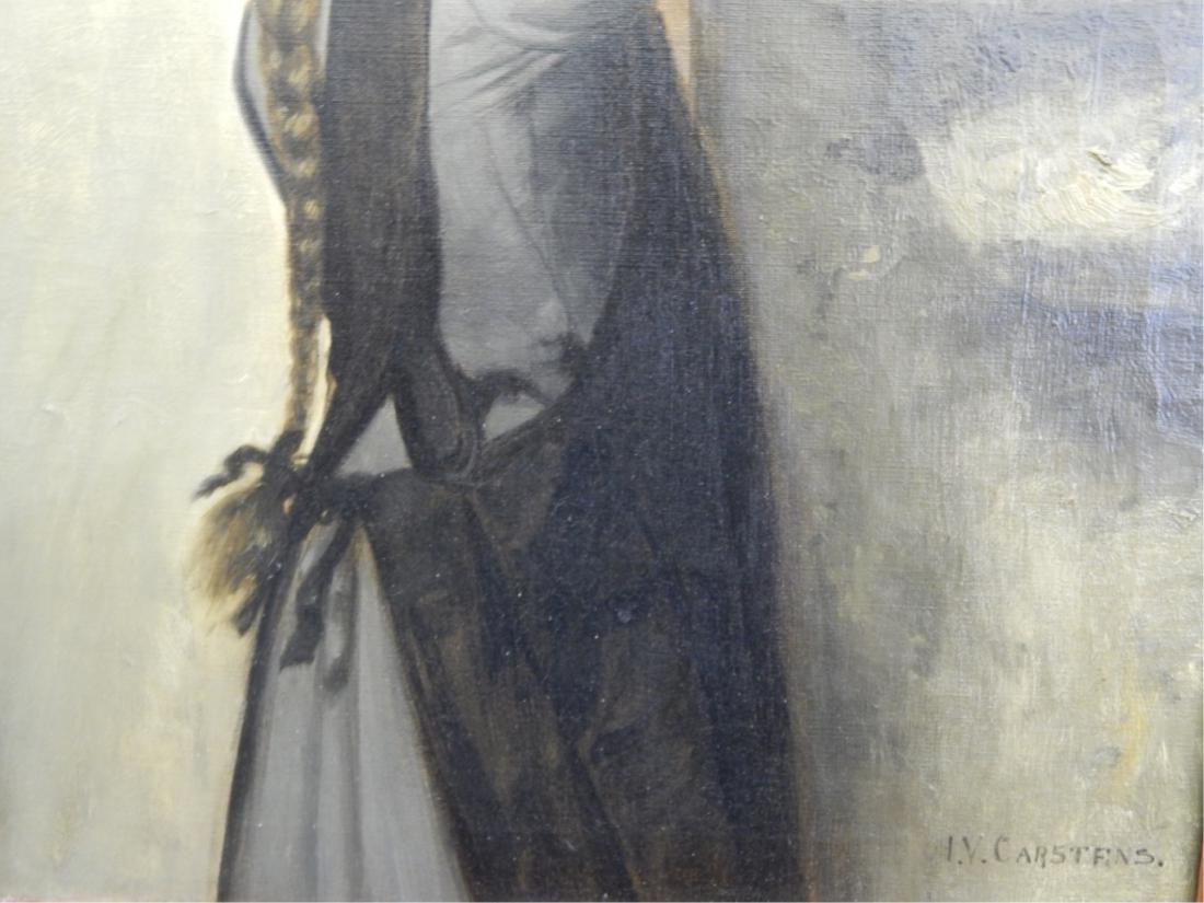 JULIUS V CARSTENS (GERMAN 1849-1908) OIL OF GIRL - 3