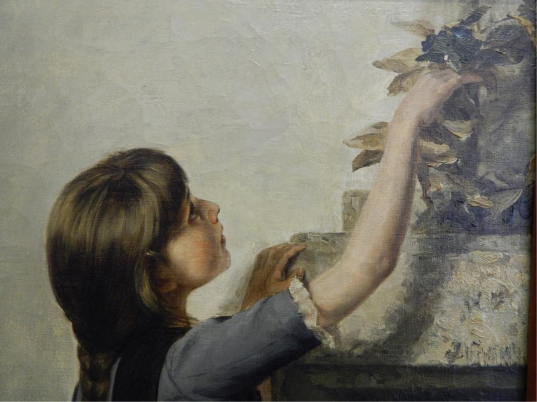 JULIUS V CARSTENS (GERMAN 1849-1908) OIL OF GIRL - 4
