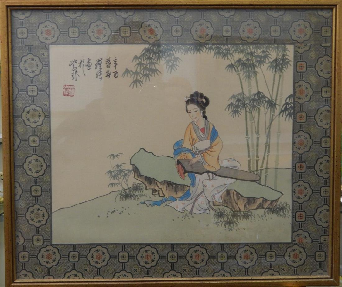 CHINESE PAINTING ON SILK OF MAIDEN WITH GUQIN