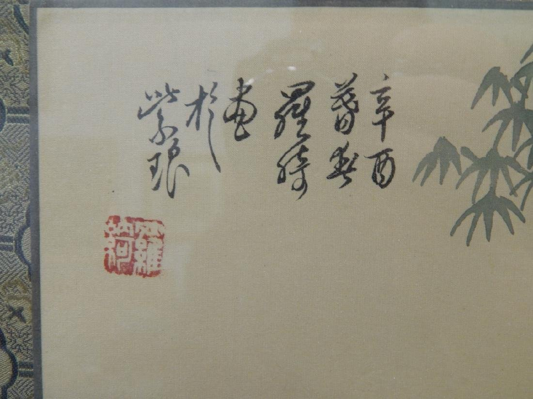 CHINESE PAINTING ON SILK OF MAIDEN WITH GUQIN - 2