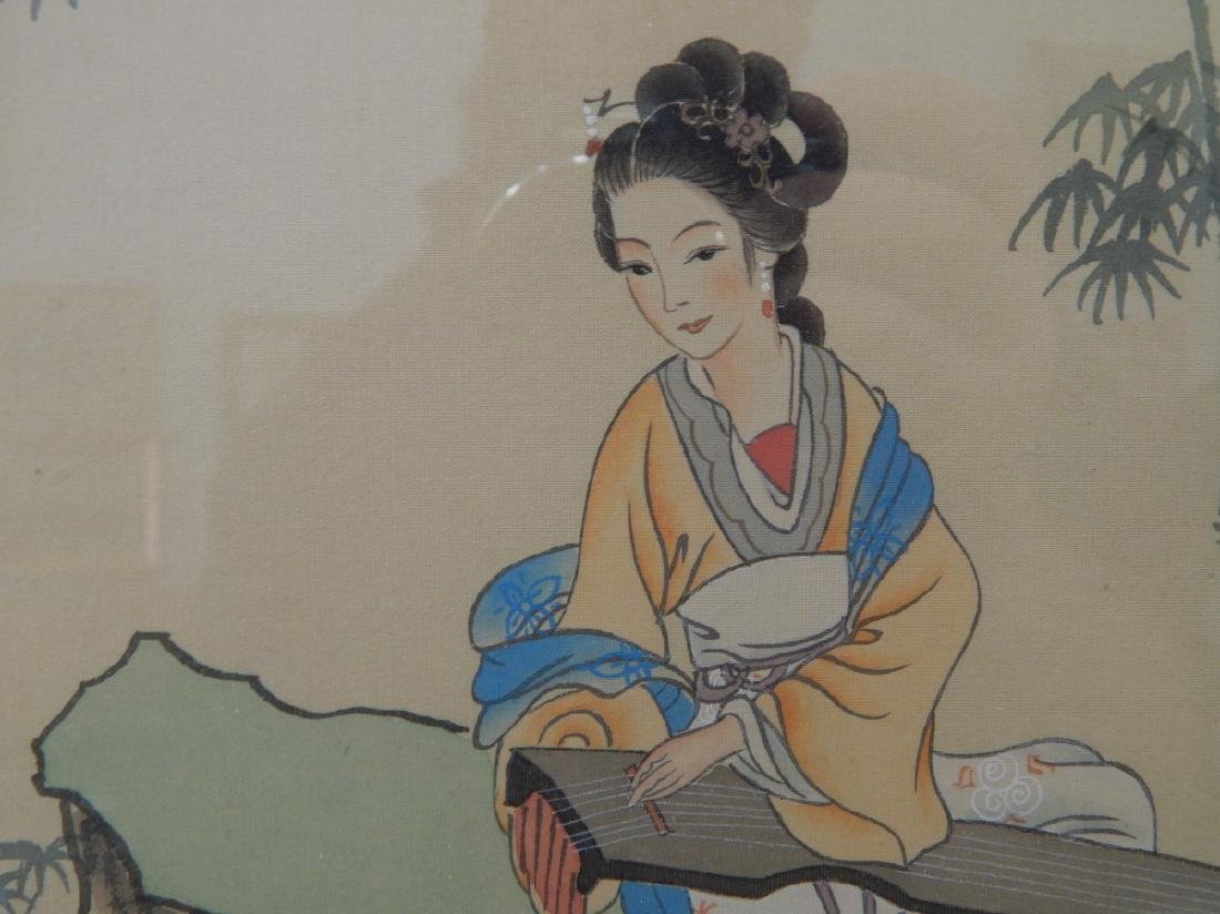 CHINESE PAINTING ON SILK OF MAIDEN WITH GUQIN - 3