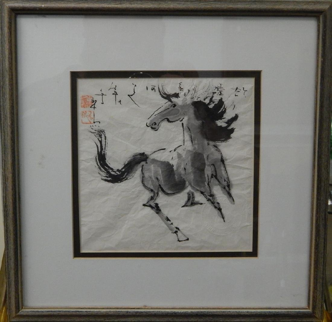 CHINESE WATERCOLOR OF HORSE ON RICE PAPER