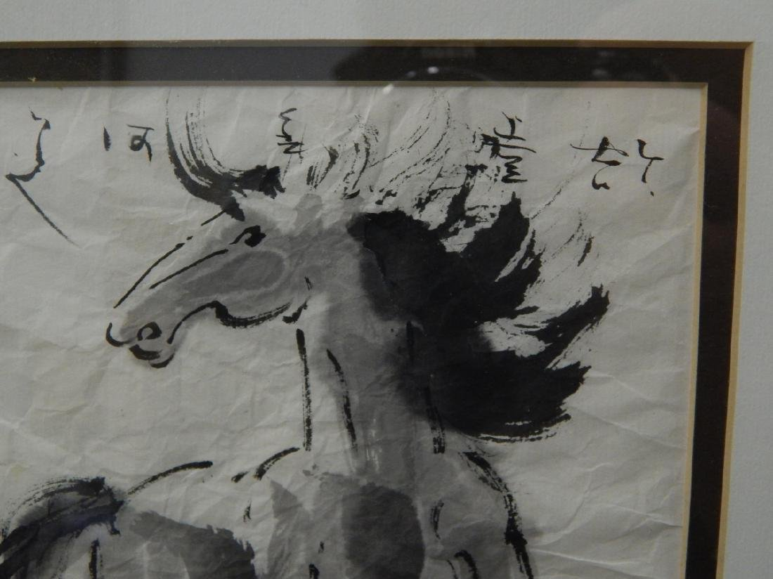 CHINESE WATERCOLOR OF HORSE ON RICE PAPER - 3