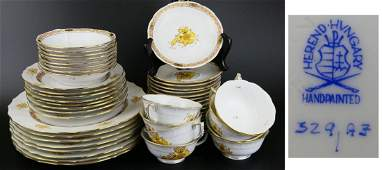 """48pc HEREND """"CHINESE BOUQUET YELLOW"""" SERVICE FOR 8"""