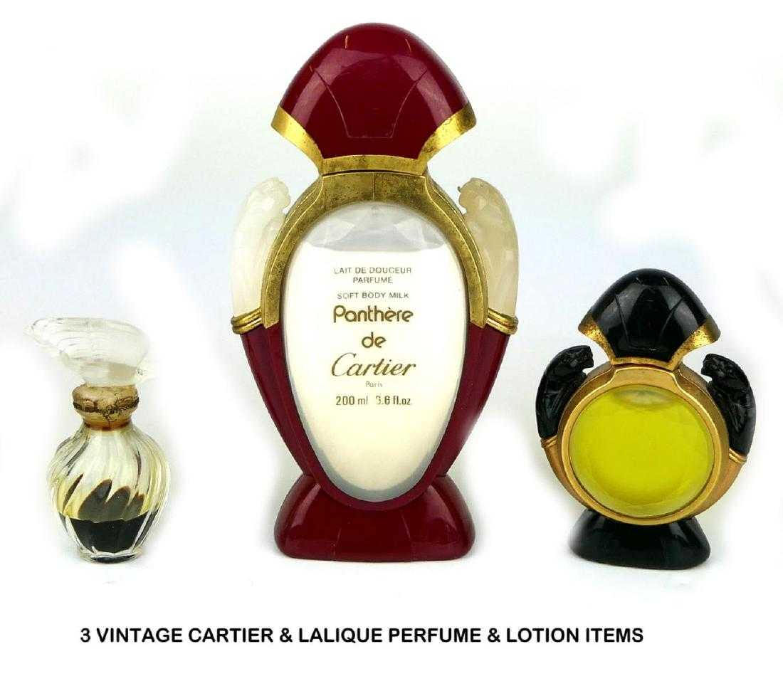 3 Vintage Cartier Lalique Perfume Lotion Items