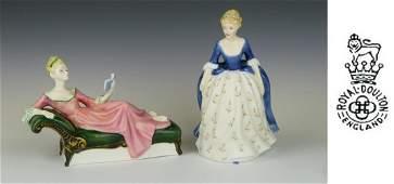 2 ROYAL DOULTON PORCELAIN LADY FIGURINES