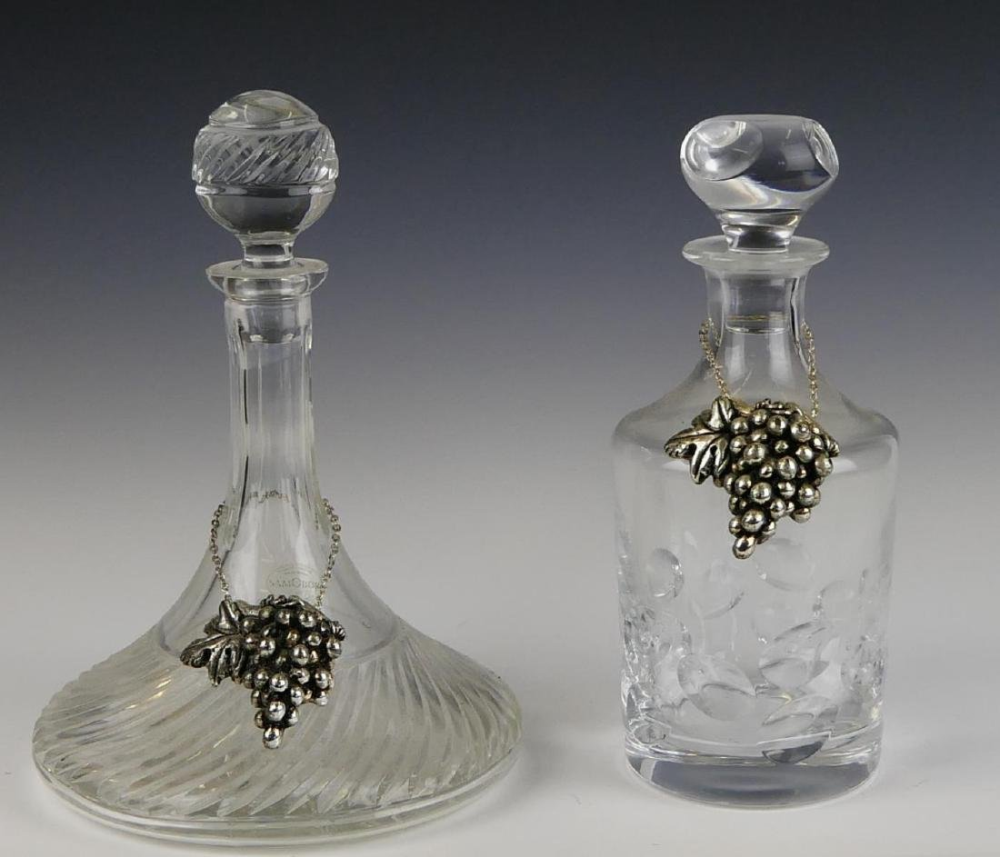 2 CRYSTAL DECANTERS w GODINGER GRAPE TAGS
