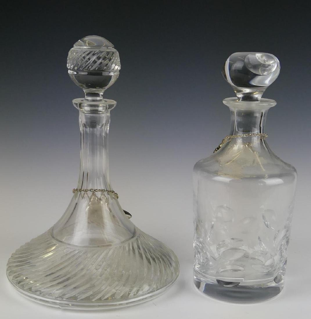 2 CRYSTAL DECANTERS w GODINGER GRAPE TAGS - 4