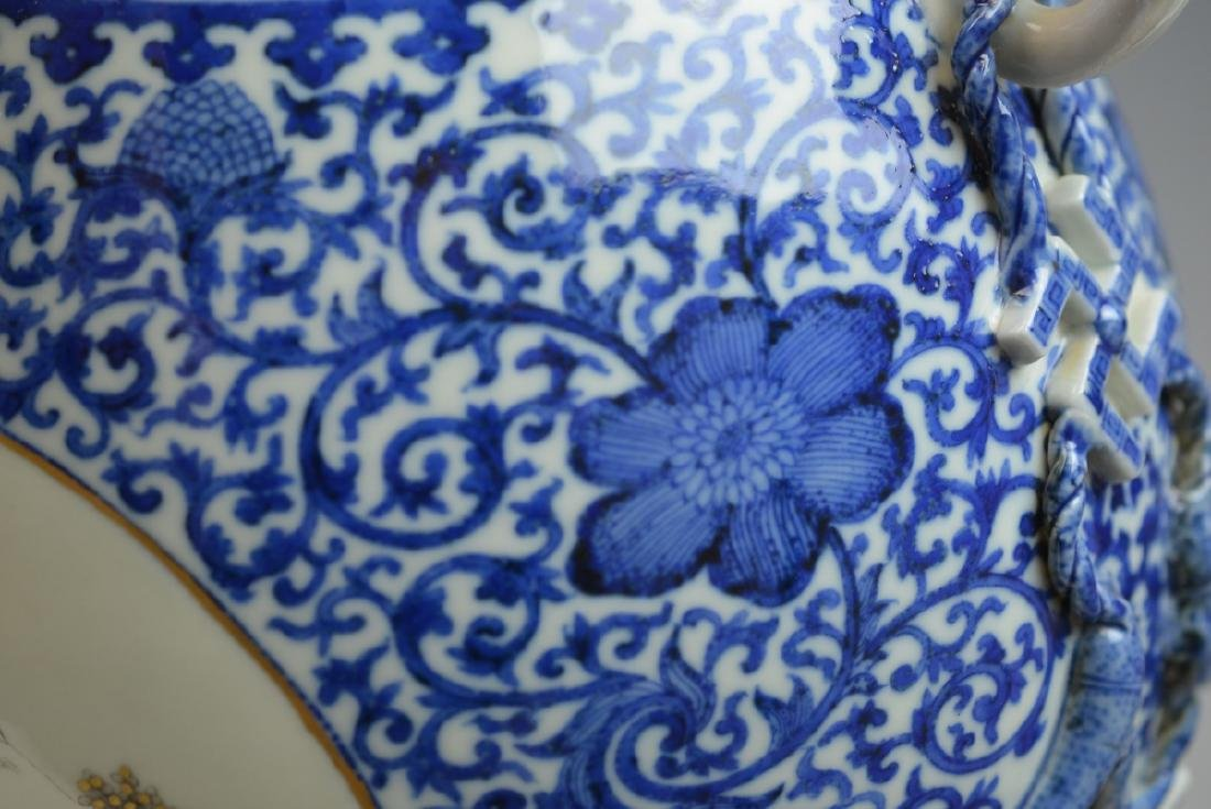 19th CHINESE BLUE & WHITE LANDSCAPE PORCELAIN VASE - 2
