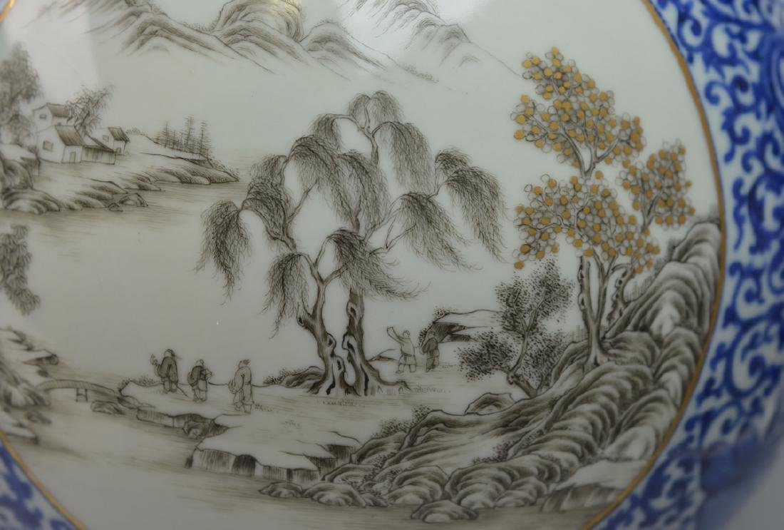 19th CHINESE BLUE & WHITE LANDSCAPE PORCELAIN VASE - 3