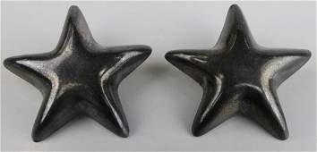 TIFFANY  CO STERLING SILVER PUFFY STAR EARRINGS