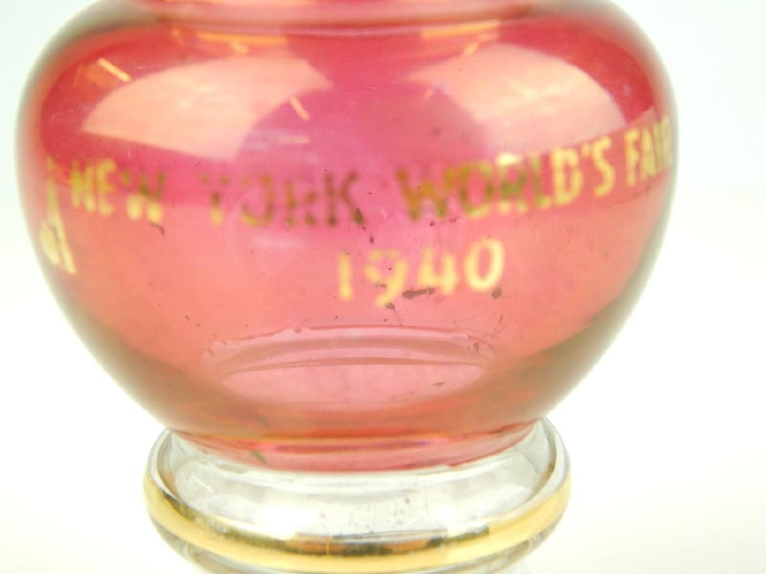 1940 NEW YORK WORLD'S FAIR CRANBERRY CABINET VASE - 2