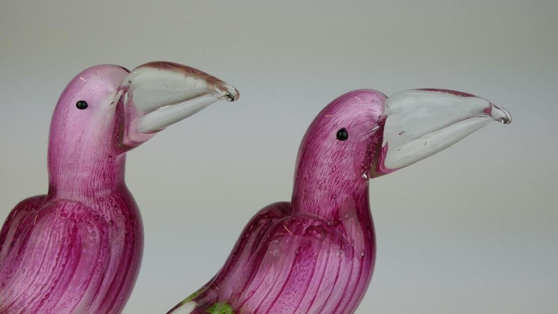 2 MURANO STRIPED CRANBERRY GLASS TOUCAN SCULPTURES - 2