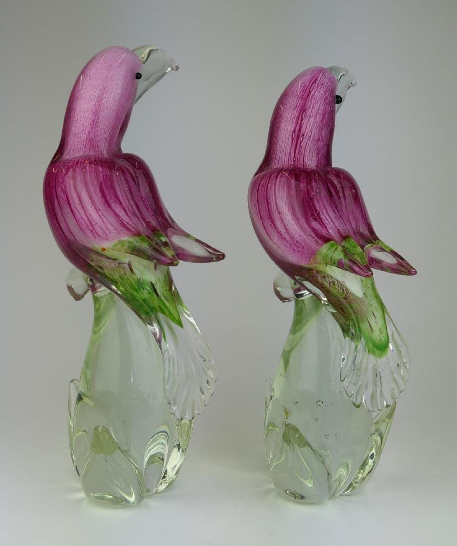 2 MURANO STRIPED CRANBERRY GLASS TOUCAN SCULPTURES - 5