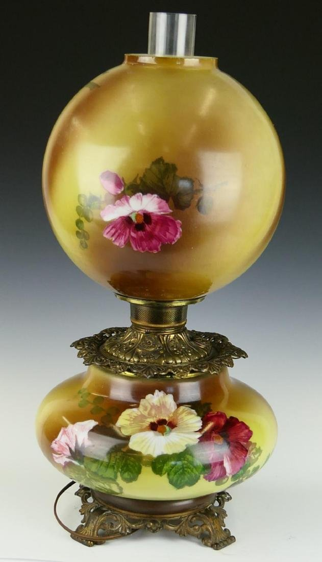 ANTIQUE HAND PAINTED GLASS HURRICANE LAMP
