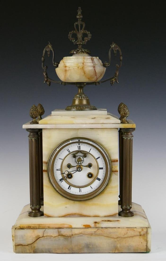ANTIQUE FRENCH WHITE ONYX MANTLE CLOCK