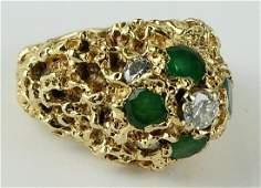 GENTS 14KT Y GOLD DIAMOND & TOURMALINE NUGGET RING