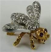 18 KT YELLOW GOLD DIAMOND  RUBY BEE PIN