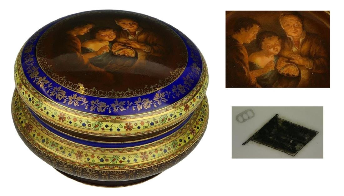 19th C ROYAL VIENNA HAND PAINTED PORCELAIN BOX