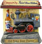 EARLY 1960'S PABST BLUE RIBBON BEER TRAIN SIGN