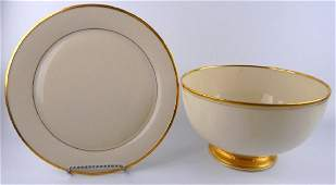 2 LENOX PORCELAIN TABLEWARE ITEMS BOWL  CHARGER