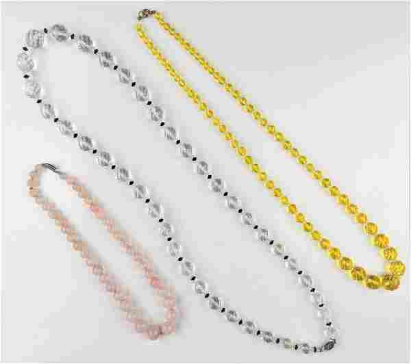 3PC QUARTZ AND CRYSTAL BEADED NECKLACE GROUP