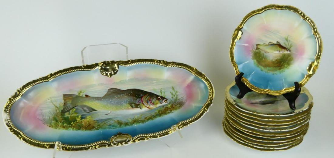 13pc MOSCHENDORF BAVARIA FISH PLATTER & PLATES