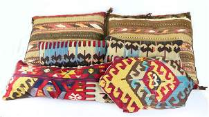 5 ANTIQUE PERSIAN WOVEN WOOL TRIBAL RUG PILLOWS