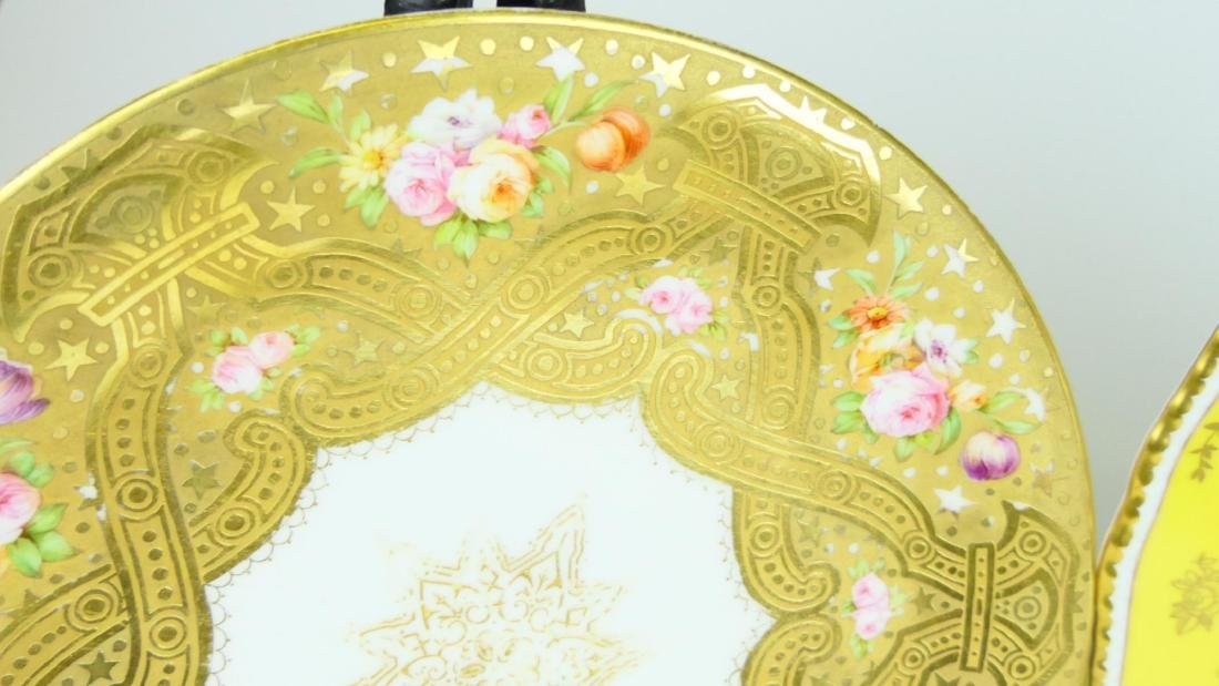 4 ANTIQUE CONTINENTAL HAND PAINTED DINNER PLATES - 2